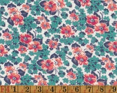 Vintage Feedsack Fabric - Jade Green/Aqua and Pink Apple Blossom - Quilting Cotton 1940s 1930s