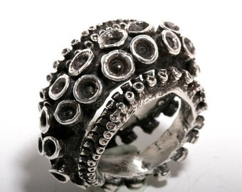 Beautiful double octopus tentacle jewelry sterling silver tentacle adjustable ring design by Zulasurfing