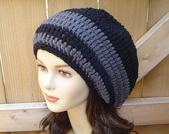 Slouchy Hat, Black dark gray slouchy Beanie, Baggy, small Dread Tam hat, Slouch Beanie,  women men beanie, charcoal black beanie, winter hat