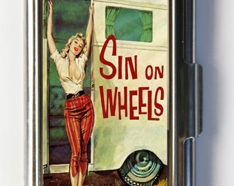 Sin On Wheels Card Holder Business Card Case pulp retro rockabilly