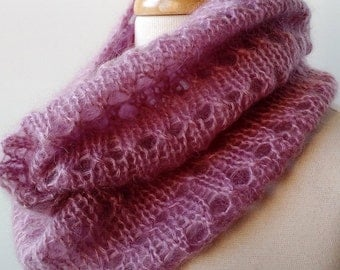 Gift For Her, Knit Scarf Knit Infinity Scarf in Mohair and Silk - Women's Scarf - LILAC