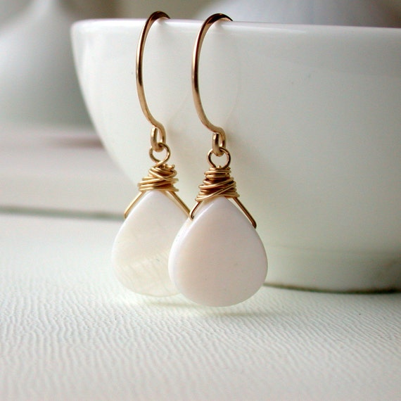 50 Percent Off! Sale. Mother of Pearl Earrings
