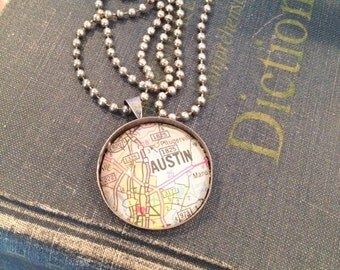 World traveler gift, Custom Map Pendant, Map Necklace, Vintage Map Jewelry, Select a CIty, Gift for Traveler, Hometown Pendant, Personalized