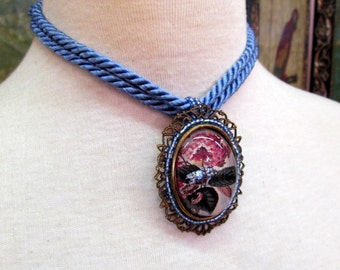 Large Art Pendant Necklace, Pink and Blue Chintz on Brass Filigree