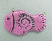 Pink Fish Pendant, Pink Ammonite Bead, Polymer Clay Fish