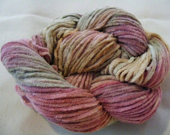 Chenille Cotton Yarn ROSEANNA Handpainted 150yds 2.6oz Worsted Weight knitting aspenmoonarts