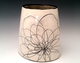 Large Ceramic Vase Black and White Porcelain Modern Pottery