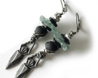 Bohemian Earrings, Long Drops, Tribal, Lampwork Beads, Hand Cast Pewter Charms, Aqua, Sea Green, Gunmetal, Wire Wrapped, Beaded Earrings