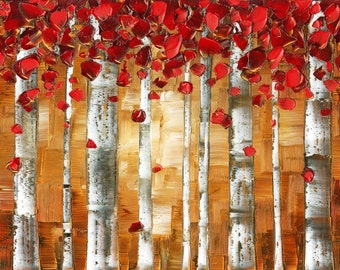 Brown Red Birch Trees Landscape Aspen Forest Giclee PRINT on Canvas Home Decor Wall Art Large Abstract Modern Contemporary Art by Susanna