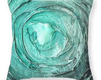 Modern Designer Accent Throw Pillow - abstract aqua blue green/teal vortex, home decor by susanna  14x14 16x16 18x18 20x20 26x26 20x14