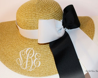 Monogrammed  Floppy Hat, Great for Beach, Derby, Carolina Cup Race, Sun, Bride, Easter,  Honeymoon,  Bridesmaids 2 Tone Bow & Ribbons