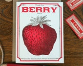 letterpress thank you berry much greeting card farmers market vegan vegetarian vintage berry seed packet sweeter than candy