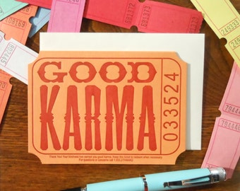 lettepress good karma ticket thank you note orange rust raffle carnival ticket greeting card