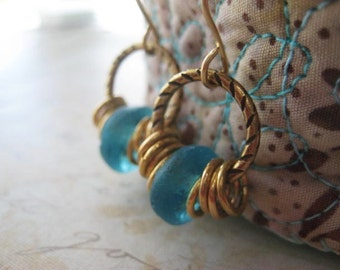 Blue Glass Earrings, Recycled Ghana Glass, Dark Blue Aqua, Antiqued Golden Brass, African Beads, Translucent Glass, Boho Style, candies64