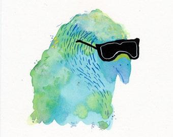 Budgie in Sunglasses / watercolour gouache original