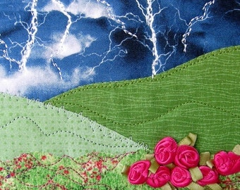 Handmade Quilted Postcard, Fabric Postcard, Fiber Art Landscape, Art Greeting Cards, Hot Pink Flowers