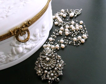 Austro Hungarian Seed Pearl Shell Necklace - Ianessa Necklace