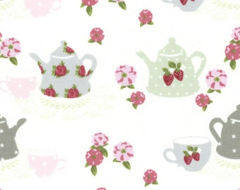 Sale (30) HALF YARD Lecien -Milk Tea for Two 31388-10 - High Tea Collection - Teapots, teacup, strawberries, roses, lace