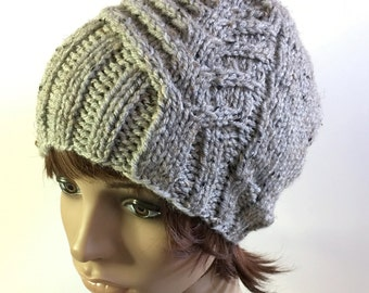 Knit Hat - Asymmetry Cable in Gray Marble Tweed