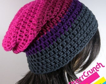 Sale 40% Off Slouchy Beanie Crochet Hat in Pink Magenta Purple and Charcoal