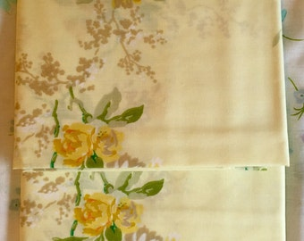 Yellow Floral Pillow Cases - New - Unused - Danville - NIP - NOS - Flowers - Pale Yellow Cases - No-Iron Percale Pillowcases - Vintage Cases