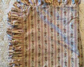 """Pair of Ticking Type Euro Shams - Petite Flowers and Stripes - Pink Yellow - Ruffled Edge - 26""""- All Cotton Floral Garland Ticking Stripes"""