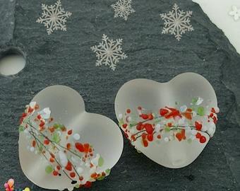 Lampwork Beads Christmas Blossom Hearts