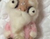Pink Santa needle  felted ooak  Christmas ornament art doll