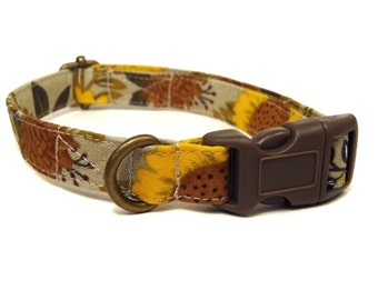 Autumn Bloom - Brown Orange Sunflowers Mums Flowers Floral Fall Organic Cotton CAT Collar Breakaway Safety - All Antique Brass Hardware