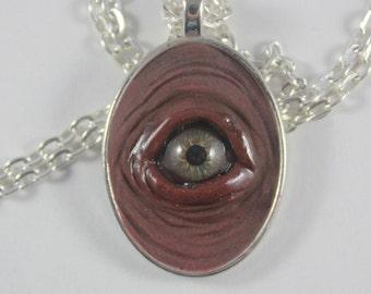 Small Light Hazel Eye Pendant HZL-3