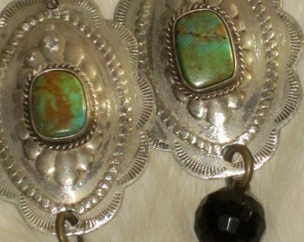 Gorgeous Vintage Southwest Turquoise CONCHO Earrings Ooak