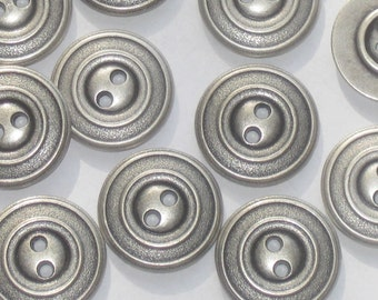 set 12 Antiqued Silver Metal Vintage New weighty buttons 21mm 13/16""