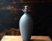 SALE!   Double flanged tall stoneware vase in slate matte by sara paloma.  bud vase modern ceramic pottery vases