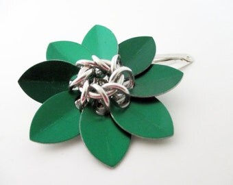Emerald Green Scale Maille Flower Hair Clip