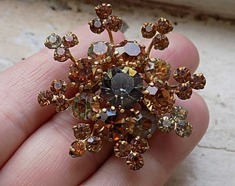 FREE SHIPPING Vintage Amber Rhinestone Brooch Signed Star