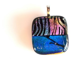 Blue and Pink Fused Dichroic Glass Necklace And Silver Mesh Chain