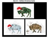 Buffalo Christmas Cards -  Note Card Set -  Blank Buffalo Christmas Note Cards - SET of 3 - Buffalo NY