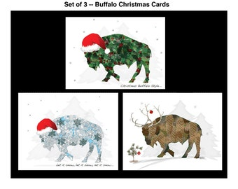 Buffalo Christmas Cards -  Note Card Set -  Blank Buffalo Christmas Note Cards - SET of 3 - Buffalo NY