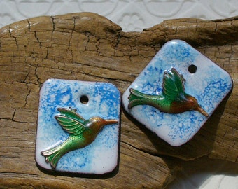 Enameled Copper Earring Pair by Catalinaglass SRA Hummingbirds