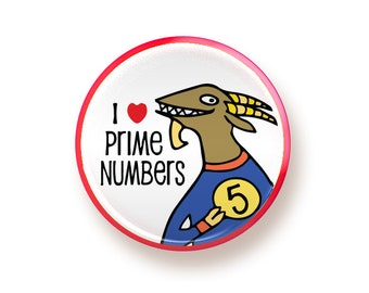 I heart Prime Numbers - round magnet