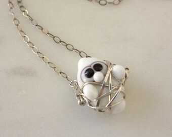 Halloween Necklace, Halloween Ghost Necklace, Cute Halloween Jewelry, Wire Wrapped Sterling, Lampwork Ghost Necklace, Lampwork Necklace