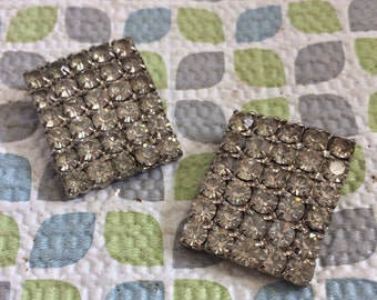 Stunning Deco Rectangle Rhinestone Silver Tone Vintage Shoe Clips Lot 32