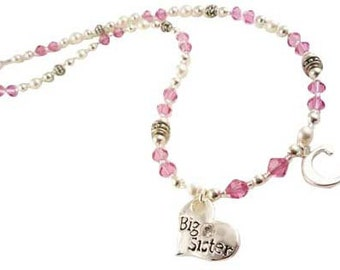 Necklace for the Big Sister or Little Sister necklace - custom with initial and heart charm and any crystal colors