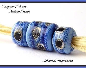 BIG HOLEBlue Granite Lampwork Bead Set by Canyon Echoes