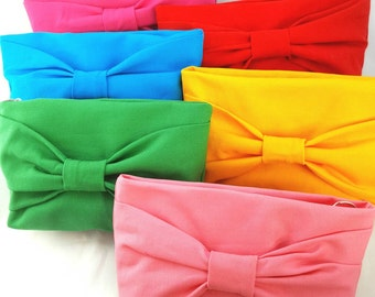 Handmade clutch/ bow clutch/ zippered pouch/ makeup bag/ gifts for her/ bridesmaid clutch/ bridesmaid gift/ gifts under 20