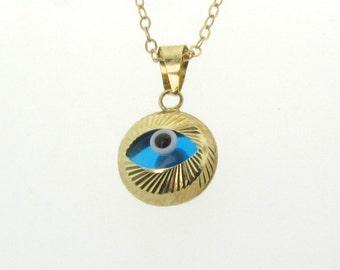 Gold Evil Eye Necklace - Protective, Lucky Evil Eye, 14k Solid Gold