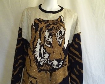 SALE TIGER sweater, Vintage 80s sweater jumper, pullover sweater