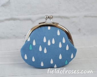 Clasp Change Coin Purse Raindrop Blue Earbud Holder Kisslock Purse Rosary Case Jewelry Case Metal Frame Purse