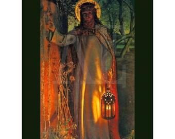PR-117 Artistic Ephemera Print ~ One 8x10 or Two 5x7s ~ 'Light of the World' Jesus by William Holman Hunt