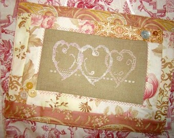 Valentine Pink Hearts Cross Stitch PDF Pattern